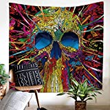 ZHH Skull Tapestry Wall Hanging for Livingroom Colorful Wall Art Halloween Decor Gothic...
