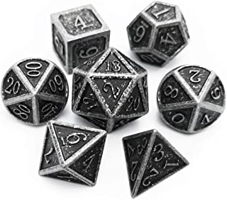 Haxtec Antique Iron Metal Dice Set 7 Die D&D Dice for Dungeons and Dragons Games.