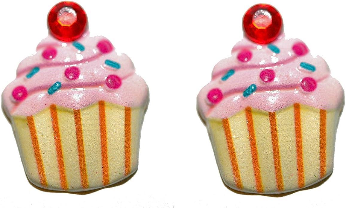 Light Pink Bling Cupcake Clip On Earrings (S159clip)