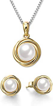 SNZM 14K Gold Plated Pearl Jewelry Set