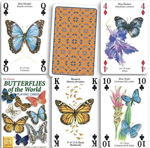 Butterflies of the World Standard Poker Playing Card Deck featuring butterfly and Moth by Heritage Playing Card Company
