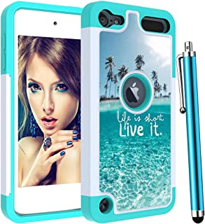 Voanice foriPod Touch 7 Case,iPod Touch 6 Case,iPod Touch 5 Case,Shockproof Heavy Duty Hard PC& TPU Women Girls Kids Dual Layer Protective Armor Cover for iPod Touch 7th /6th /5th Generation-Teal Sea