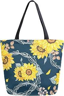 Mnsruu Mnsruu Handtasche aus Segeltuch, für Damen, mit Griff, Einkaufstasche, Blumensträuße, Marineblau, Multifunktionstasche für Damen