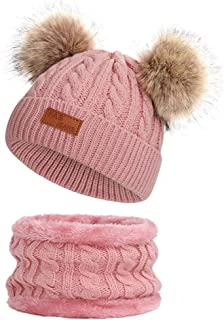 Infant Toddler Baby Knitting Woolen Hat Warm Winter Pure Color Double Pom Pom Boys Girls Beanie Cap
