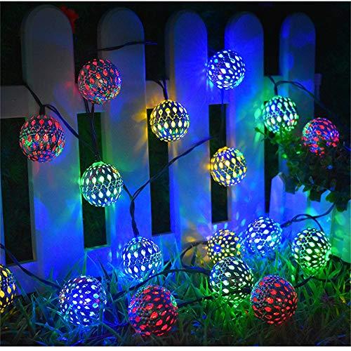 YANLE Solar-Lichterkette, bunte Lichterkette für den Außenbereich, Dauerlicht und Blink-Modi, wasserdichte Lichterkette für Garten, Terrasse, Hof, Party und Urlaub Dekoration Bunt, 6,5 m, 30 Lichter.