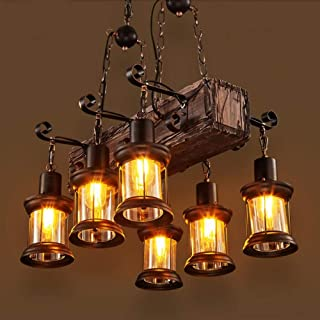 Joypeach 6 Heads Industrial Loft Style Countryside Vintage Wooden Chandelier Lamp For The Foyer / Coffee Room / Bar Decorate Pendant Lamp (110V)