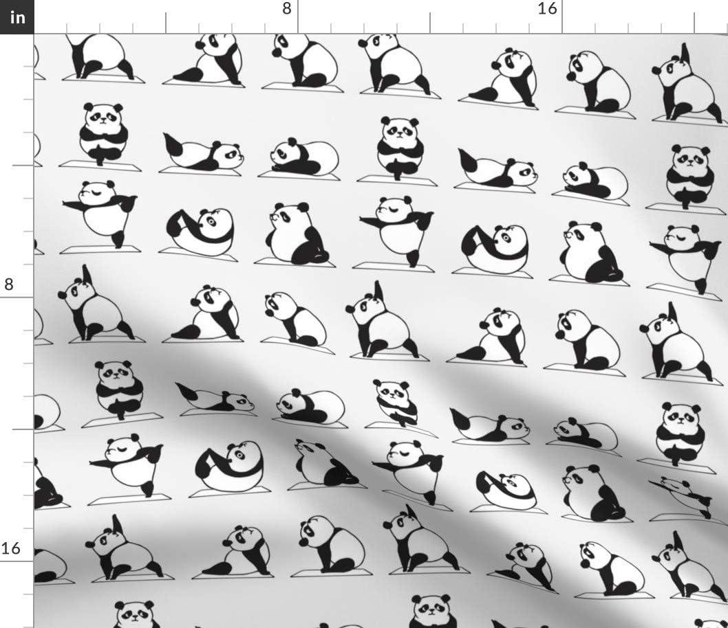 Spoonflower 2020 Fabric - 本日の目玉 Panda Animal Printed Denim Kawaii on