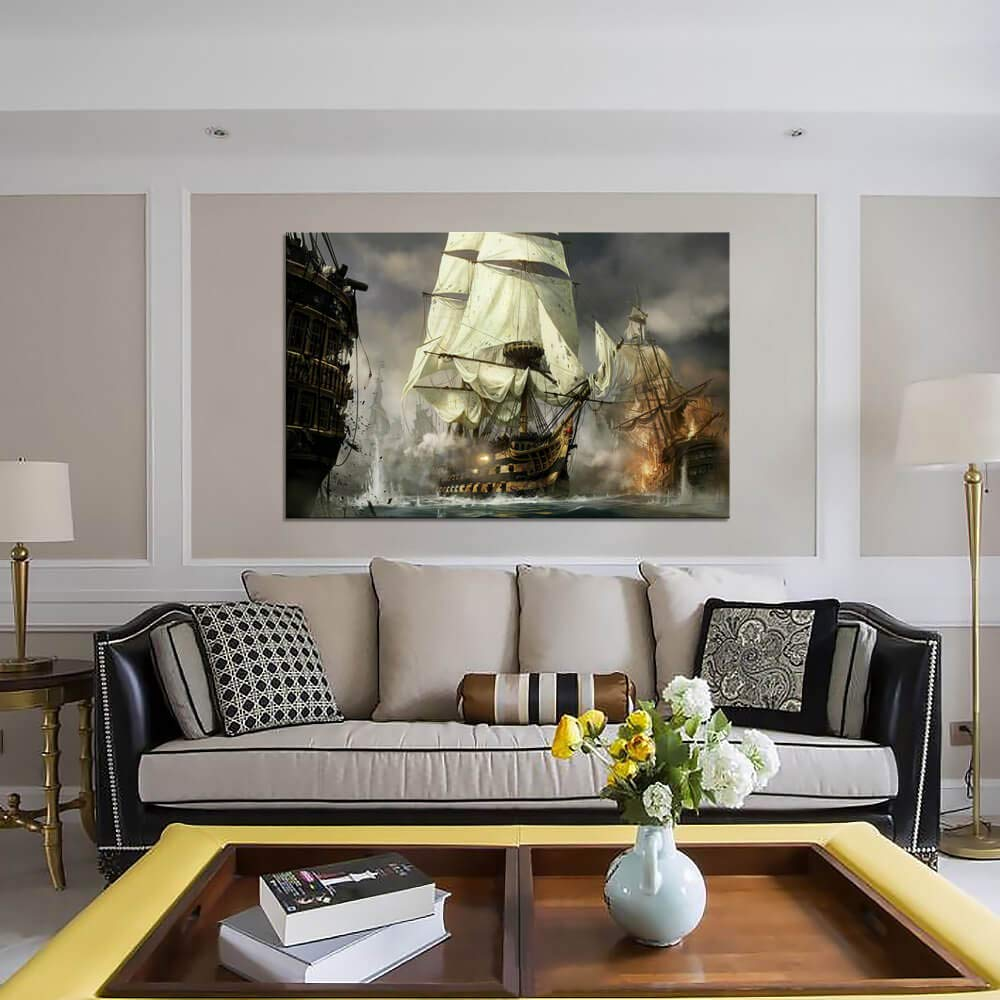Nautical Decor WW1 Decor First World War Sailboat Warship Vintage Painting Pictures Canvas Prints for Living Room Home Decoration Modern Large Framed Artwork for Bedroom Office Decor 24 x 36 Inches