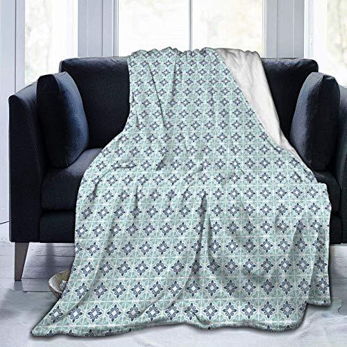 Fluffy Blanket,Repetitive Mediterranean Inspired Sea Tones Simplistic Illustration,Super Ultra-Soft Micro Fleece Blanket Baby Blanket Bedroom Bed Quilt TV Bed Blanket 80'x60'
