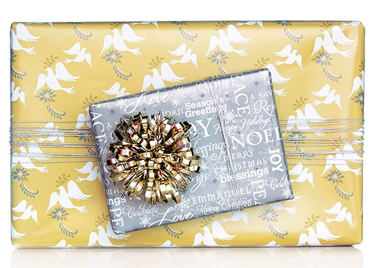 Reversible Metallic Gold Silver Dove Wishes Christmas Gift Wrap Wrapping Paper - 15 Foot Roll