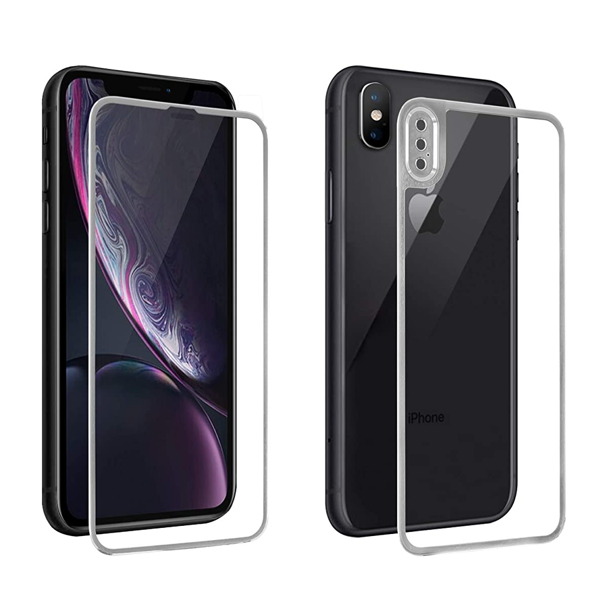 [Camera Armor] iPhone XR Screen Protector Glass, Front & Back Full Coverage 3D Curved Tempered Glass Screen Protector 9H Hardness Glass + Titanium Edge Protection 0.26mm HD (Silver, for iPhone XR)