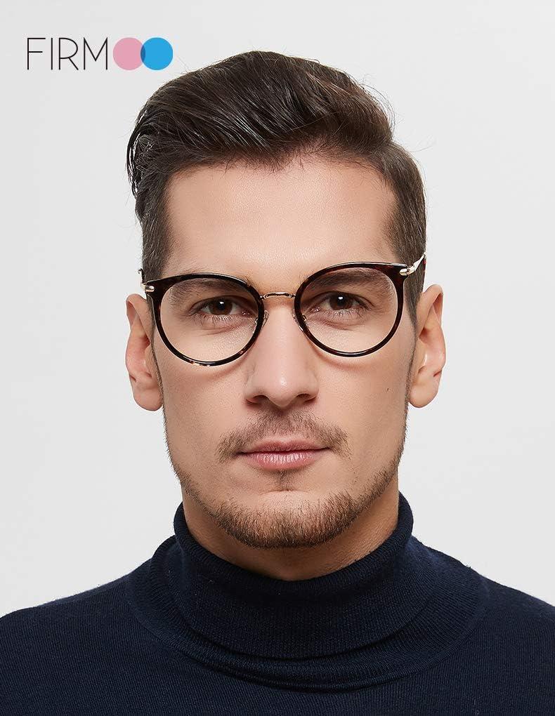 Firmoo Gafas de bloqueo de luz azul para mujer antiluz azul grandes antideslumbramiento dolor de cabeza color rosa redondas