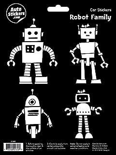 Robot Family Vinyl Car Stickers 4 Decals