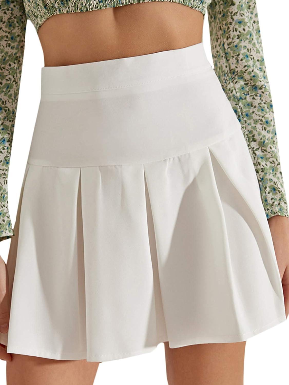 Verdusa Women's Casual High Waist A Line Pleated Flared Short Skirt