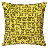 Emoji Square Funda de almohada personalizada Caras sonrientes planas que expresan felicidad en orden diagonal Joyful Childhood Amarillo Dark Army Green Fundas de cojín Fundas de almohada para sofá Dor