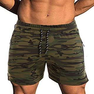 EVERWORTH Men's Solid Gym Workout Shorts Bodybuilding Running Fitted Training Jogging Short Pants with Zipper Pocket 3 Colors