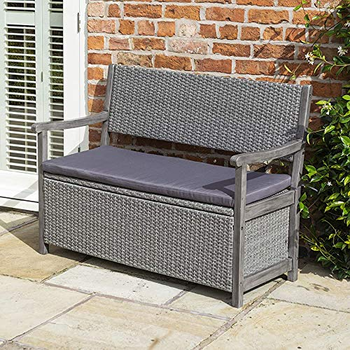 Modern Garden Gray Two sat Rattan Storage Bench 120 x 60 x 90 Limi,Grey