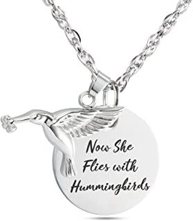 Gredstar Now She Flies with Hummingbirds Urn Necklace Cremation Jewelry Stainless Steel Memorial Pendant for Ashes