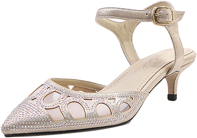 RizaBina Women Sweet Kitten Heels Sandals Pointed Toe