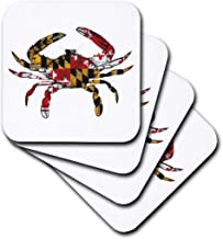 3dRose cst_193242_2 Maryland Crab Flag-Soft Coasters, Set of 8