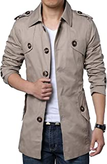 Howme-Men Slim Tailoring Button Closure Handsome Parka Jackets