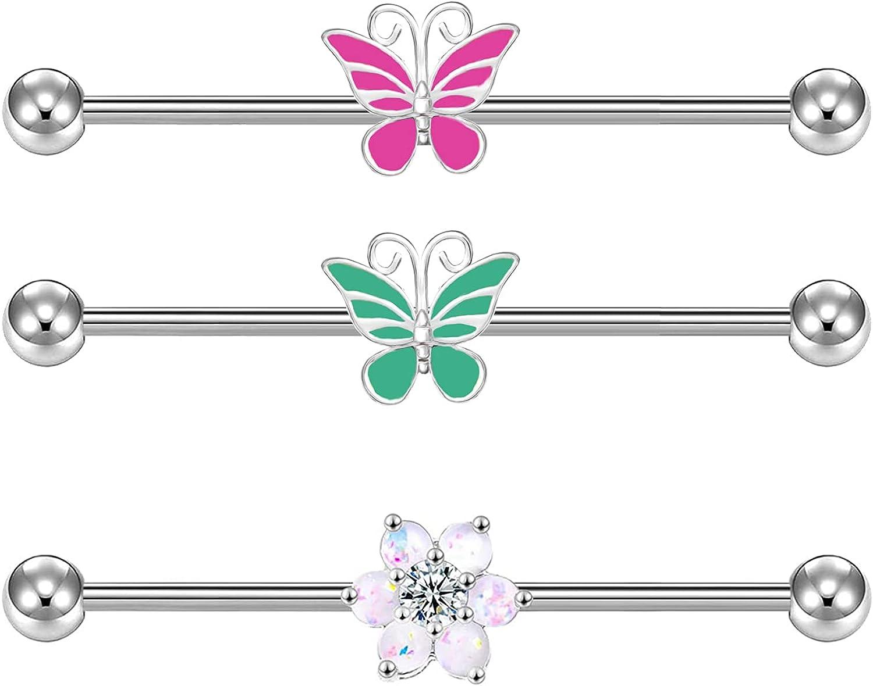 Butterfly Flower Industrial Barbell 14G Industrial Barbell Stainless Steel Cartilage Earrings CZ Industrial Rings Body Piercing Jewelry Industrial Bar Body Piercing Jewelry