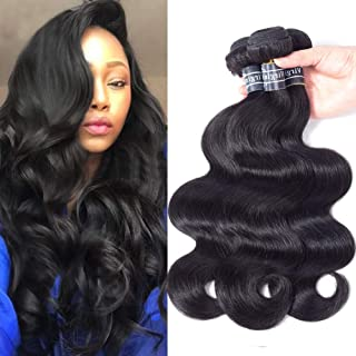 Amella Hair 100% Unprocessed Virgin Brazilian Human Hair Brazilian Body Wave 3 Bundles (16 18 20,300g) Hair Extensions Grade 8A Remy Human Hair Bundles Natural Black Color
