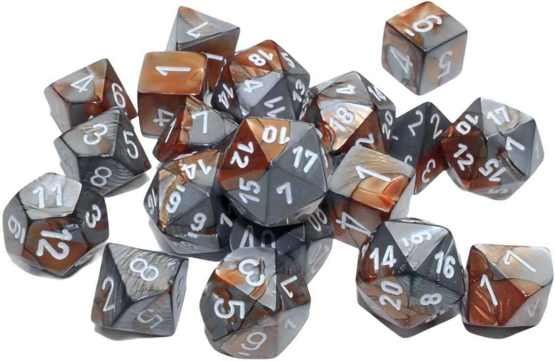Role Playing Games Board Games Copper-Steel with White Numbers Dice for Dungeons and Dragons Table Game MTG DND Pathfinder Chessex Gemini Polyhedral 20-Die Set