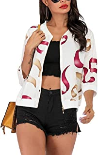 neveraway Women's Light Weight Cropped Front-Zip Printed V-Neck Outwear Coat Jacket