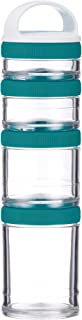 BlenderBottle C02502 GoStak Twist n' Lock Storage Jars 4-Piece Starter Pak Teal (Renewed)