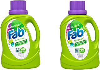 Fab Spring Magic Liquid Laundry Detergent, With Scent Booster Technology 40 Oz Bottle ( 2 Pack )