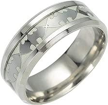 Geek & Glitter Batman Glow-in-The-Dark Ring Titanium Stainless Steel Silver Ring Band - DC Superhero Cosplay Jewelry