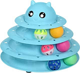 Upsky Cat Toy Roller Cat Toys 3 Level Towers Tracks Roller with Six Colorful Ball Interactive Kitten Fun Mental Physical Exercise Puzzle Toys …