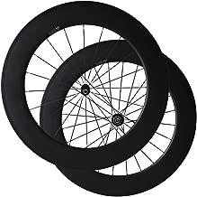 Bike Wheelset, Carbon Fiber Bicycle Wheels with 700C Powerway R36 Ceramic Bearing Hub Pillar 1432 Spokes