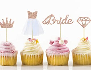 32 Rose Gold Glitter Bride To Be Cupcake Toppers with Diamond,Crown,Bride,3D Tulle Dress Cupcake Toppers for Bridal Shower...