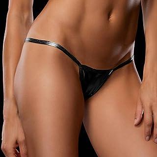 Xjrhbzd Mini Women's Sexy Panties Pu Leather Thong Ladies Tango Erotic Lingerie (Color : Black)