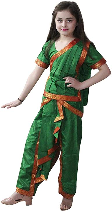 Amazon Com Odissi Fancy Dress For Kids Indian Dance Traditional Wear For Annual Function Theme Party Clothing