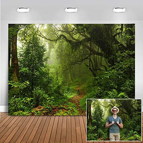 Avezano 2.1*1.5m Fondo de bosque tropical, fondo de fotografía de cuento de hadas de aventura en la selva de primavera por la mañana para decoración de pared de verano para fiesta de cumpleaños