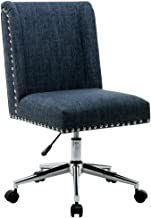 Porthos Home Office Chair With Fabric upholstery Studded Design, One Size, Blue