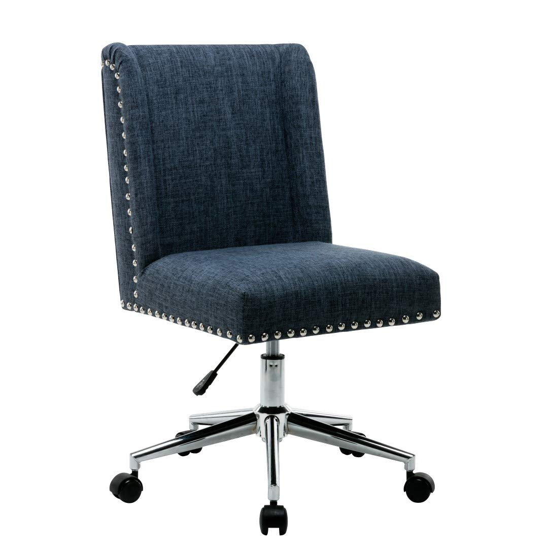 Amazon Com Porthos Home Office Chair With Fabric Upholstery Studded Design One Size Blue Furniture Decor