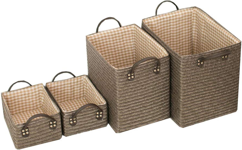 Bedroom Storage Basket, Living Room Storage Basket Straw + Interlining with Handle Restroom Office Multifunctional Storage Basket-A