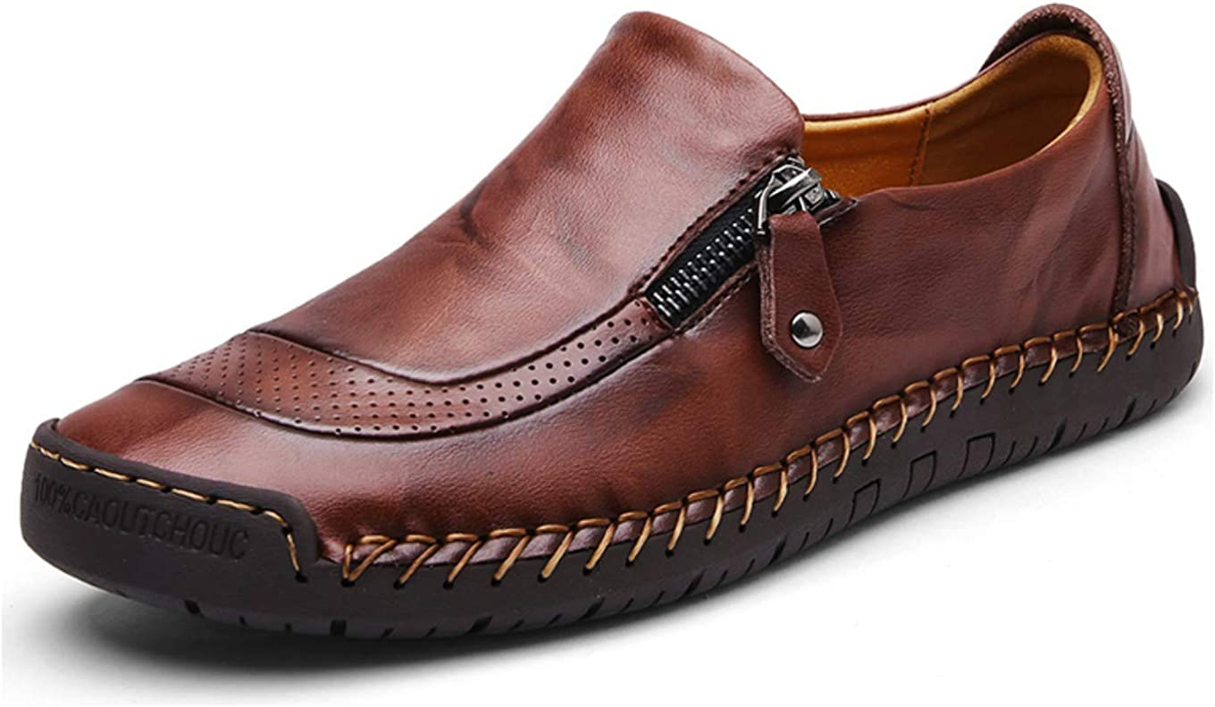 Men`s shopping Causal Oxford Shoes Zipper Very popular Leather Penny Comfortab Loafers