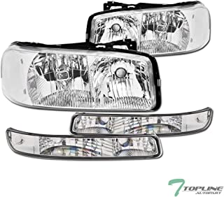Topline Autopart Chrome Clear Housing Headlights With...