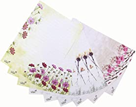 Bolbove 72 Pcs Lovely Plant Cute Flower Theme Letter Writing Stationery Paper Lined Sheets 3 Patterns (Pink B)