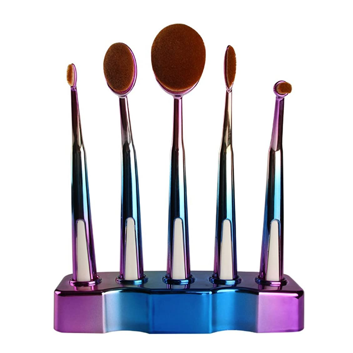 植物学者賠償充電5本歯ブラシ型ファンデーションブラシグラデーションメイクブラシセットブラシ(カラー:カラーグラデーションブルー)