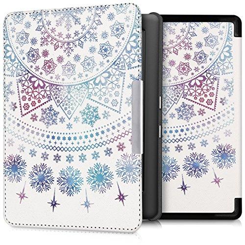 kwmobile Hülle kompatibel mit Kobo Glo HD/Touch 2.0 - Kunstleder eReader Schutzhülle Cover Case - Arktische Schneeflocke Blau Pink Weiß