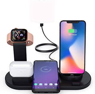 6 in 1 Wireless Charger, Wireless Charging Stand for Apple Watch Series 6/SE/5/4/3/2/1,Qi Wireless Charging Station for iP...