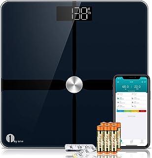 1byone ITO Básculas de Grasa Corporal Bluetooth, Básculas de Baño Digitales de Peso Corporal, Smart Body Fat Scales, Báscula de Pesaje de Alta Precisión - Negro