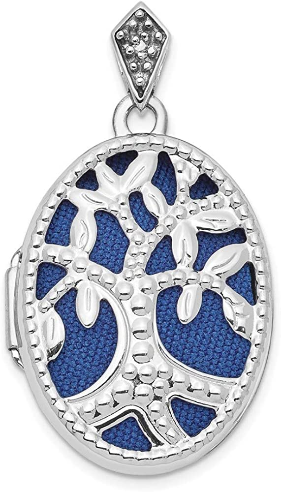 14k White Gold Diamond Tree 23mm Blue Fabric Locket Pendant Charm Necklace Oval Fine Jewelry For Women Gifts For Her