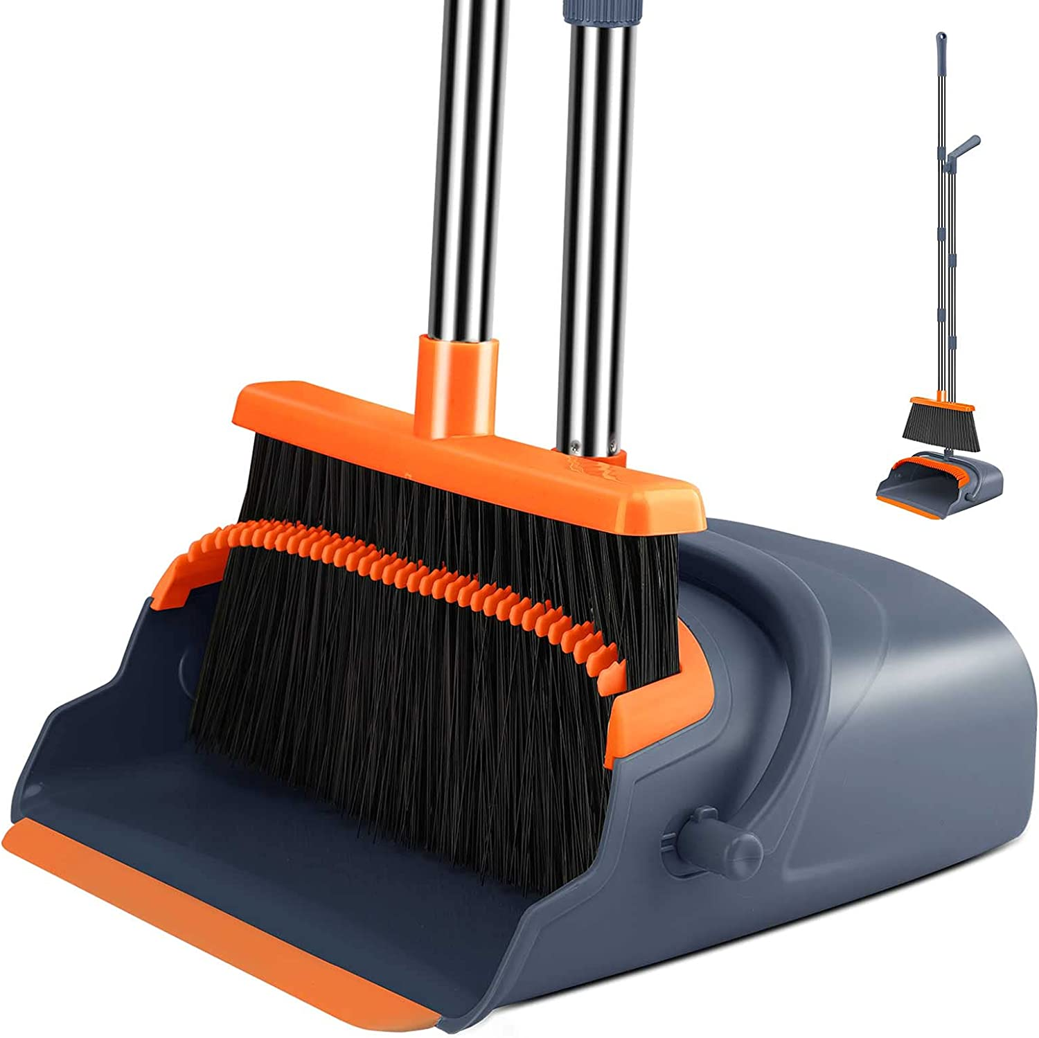 Kelamayi 2021 Upgrade Broom and Dustpan Set, Large Size and Stiff Broom Dust pan with 55.9 inch Long Handle, Upright Dustpan Broom Set Ideal for Indoor Outdoor Garage Kitchen Room Office Lobby Use : Health & Household